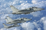 Formation of Italian Air Force Amx-Acol Aircraft over Italy Photographic Print by  Stocktrek Images