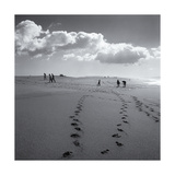 Point Reyes Beach, Clouds, Footprints Photographic Print by Henri Silberman