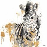 Water Zebra With Gold Kunst von Patricia Pinto