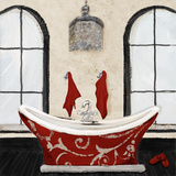 Red Villa Bath I Poster by Gina Ritter