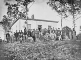 Group of Soldiers at Camp During American Civil War Photographic Print by  Stocktrek Images