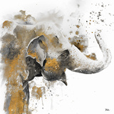 Water Elephant with Gold Kunstdruck von Patricia Pinto
