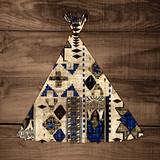 Teepee on Wood Print by Nicholas Biscardi