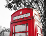London Phone Booth with Red Pop Prints by Emily Navas