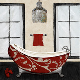 Red Villa Bath II Print by Gina Ritter