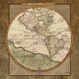 Damask World Map I Posters av Elizabeth Medley
