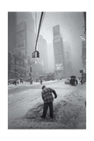Times Square Blizzard Snow Shoveling Photographic Print by Henri Silberman