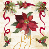 Christmas Poinsettia Ribbon IV Prints by Lanie Loreth