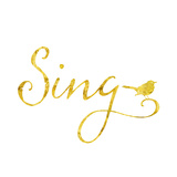 Sing with Songbird Gold Faux Foil Metallic Background Texture On Poster by  silverspiralarts