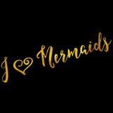 I Love Mermaids Gold Faux Foil Metallic Glitter Quote Poster by  silverspiralarts