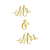 Wedding Gold Faux Foil Glittery Metallic Mr. and Mrs. Quote Isol Prints by  silverspiralarts