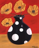 Polka Dot Poppies Print by Heather Donovan