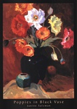 Poppies in Black Vase Art by Janine Salzman