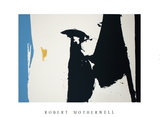 Two Figures with Cerulean Blue Stripe Serigraph by Robert Motherwell