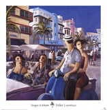 Vespa in Miami Prints by Didier Lourenco