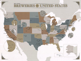 Noble & Notable Breweries of the United States Kunstdrucke von  Pop Chart Lab