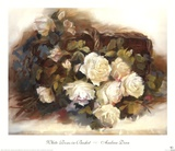 White Roses in Basket Prints by Andrea Dern