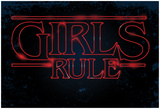 Girls Rule Horizontal Night Blue Marquee Print