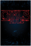 Girls Rule Vertical Night Blue Marquee Posters