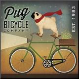 Pug on a Bike Mounted Print by Ryan Fowler