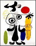 Figur med rød sol II, ca. 1950 Monteret tryk af Joan Miró