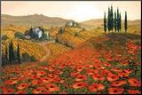 Hills of Tuscany II Impressão montada por Steve Wynne