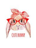 Rabbit Head in Glasses Print by  tanycya
