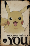 Pokemon- Pikachu Needs You Posters