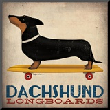 Dachshund Longboards Mounted Print by Ryan Fowler