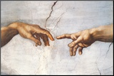 Creation of Adam Detail Hands Mounted Print by  Michelangelo Buonarroti