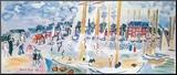 Zondag in Deauvilie Kunst op hout van Raoul Dufy
