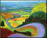 Garrowby Hill Mounted Print by David Hockney