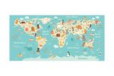 Animals World Map Posters av  coffeee_in