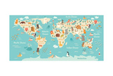 Animals World Map Prints by  coffeee_in