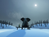 Mike_Kiev - Elephant and Dog at Christmas Night - Fotografik Baskı