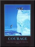 Moed, sprong van berg met daarbij Engelse tekst: Courage Kunst op hout van Steve Bloom