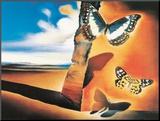 Salvador Dalí - Krajina smotýly (Landscape with Butterflies) Reprodukce aplikovaná na dřevěnou desku