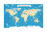 Map of the World with Animals. Beautiful Colorful Vector Illustration Poster van  coffeee_in