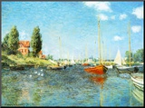 Red Boats at Argenteuil, c.1875 Mounted Print by Claude Monet