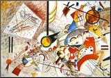 Livlig akvarell, ca 1923 Monterat tryck av Wassily Kandinsky