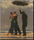 Dancer In Emerald Mounted Print by Jack Vettriano