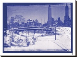 New York City In Winter V In Colour Stretched Canvas Print by  British Pathe