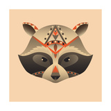 The Abstract Head of Raccoon Vector Illustration Prints by  coffeee_in