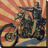 Eerie Rider Stretched Canvas Print by Mike Bell