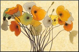 Pumpkin Poppies I Mounted Print by Shirley Novak