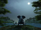 Mike_Kiev - Elephant and Dog Meditate at Summer Night - Fotografik Baskı