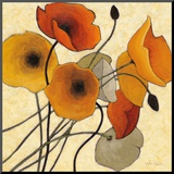 Pumpkin Poppies II Mounted Print by Shirley Novak