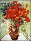 Vase with Daisies and Poppies Mounted Print by Vincent van Gogh