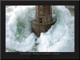 Fyrtårn i stormvejr, La Jument  Monteret tryk af Jean Guichard