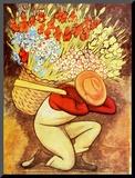 El Vendedor de flores Lámina montada en tabla por Rivera, Diego